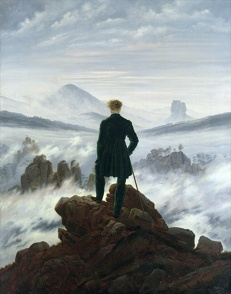 The wanderer above the sea of fog painting by Caspar David Friedrich in What Dreams May Come movie