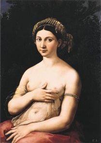 Portrait of a Young Woman (La fornarina) painting by Raphael in La Migliore offerta movie