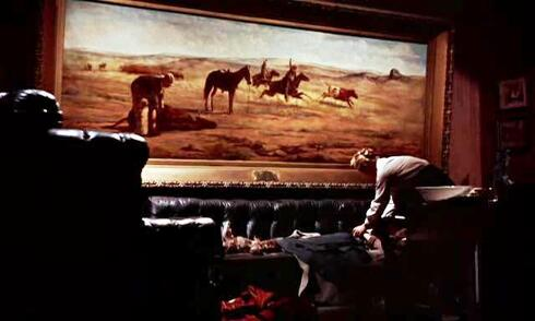 Venting Cattle on the Frisco System painting by Frank Lewis Van Ness in Giant movie
