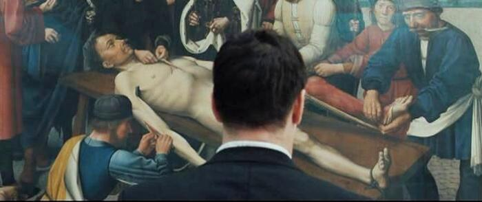 The Flaying of the Corrupt Judge Sisamnes painting by Gerard David in In Bruges movie